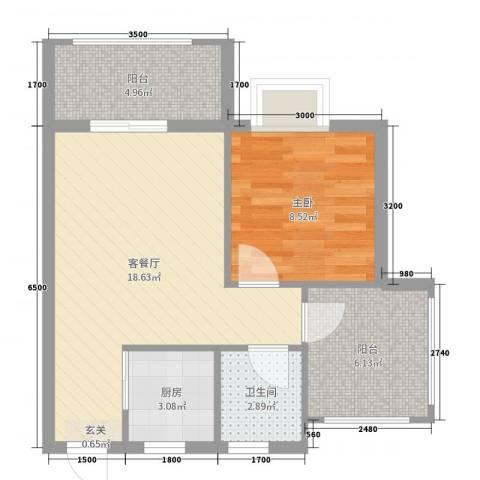 天源海景1室2厅1卫1厨57.00㎡户型图