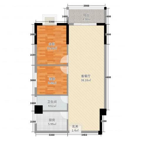 翰林轩2室2厅1卫1厨98.00㎡户型图