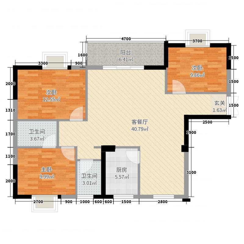 翰林轩121.89㎡A栋1号户型3室3厅2卫