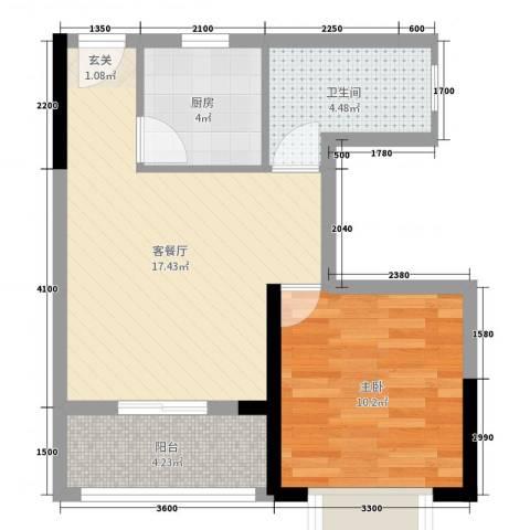天源海景1室2厅1卫1厨63.00㎡户型图