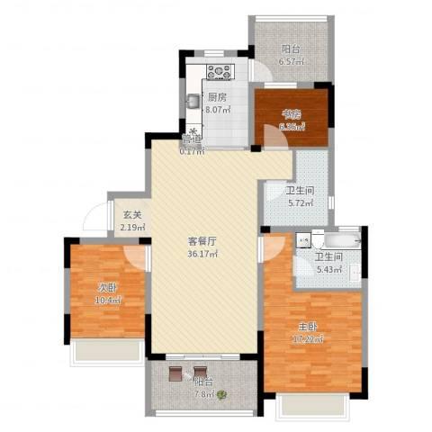 吴月雅境3室2厅2卫1厨130.00㎡户型图