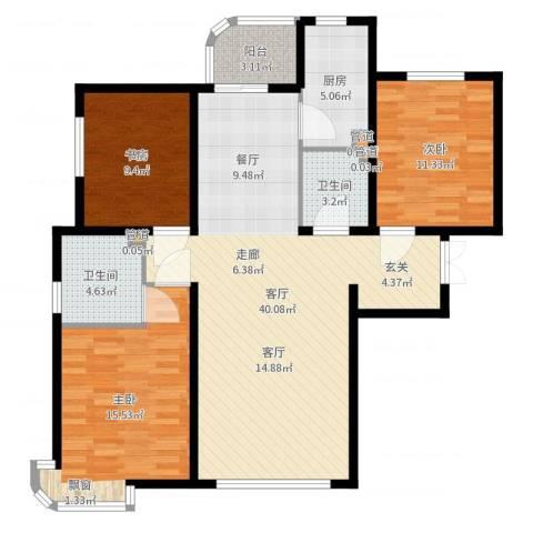天洋城4代3室1厅2卫1厨116.00㎡户型图