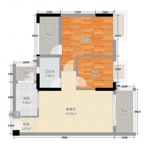 翰林名苑2室2厅1卫1厨80.00㎡户型图