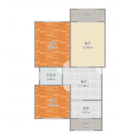 上南玲珑苑2室2厅1卫1厨131.00㎡户型图