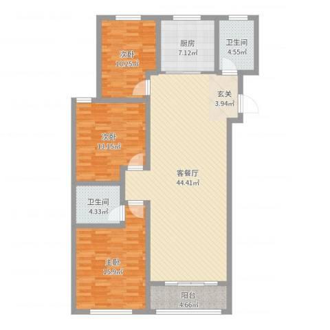 滨河阳光3室2厅2卫1厨130.00㎡户型图