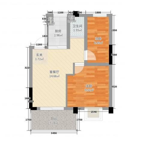 麓山枫情二期2室2厅1卫1厨51.00㎡户型图