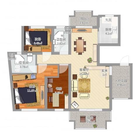 万科北区3室2厅2卫1厨91.00㎡户型图