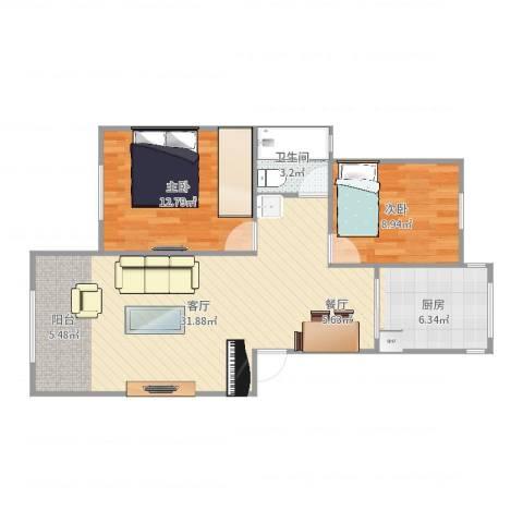 上南玲珑苑2室1厅1卫1厨79.00㎡户型图
