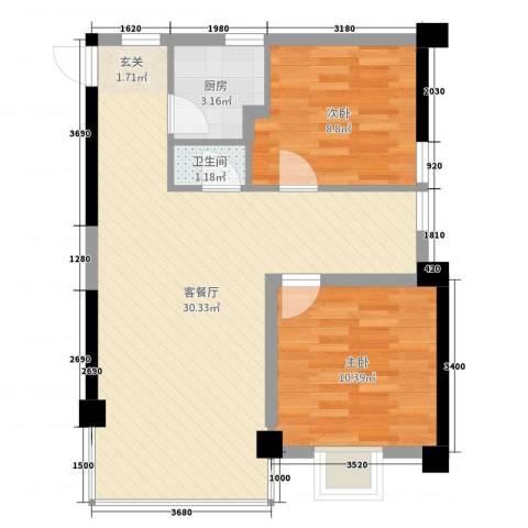 麓山枫情二期2室2厅1卫1厨70.00㎡户型图