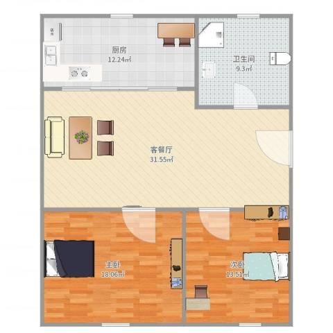 紫叶花园191弄5号402室2室2厅1卫1厨106.00㎡户型图