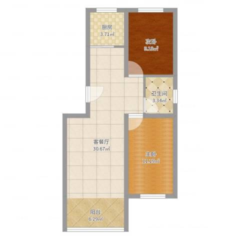 格兰小镇2室2厅1卫1厨73.00㎡户型图