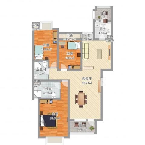 富民花园3室2厅2卫1厨132.00㎡户型图