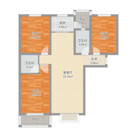 龙头花园3室2厅2卫1厨121.00㎡户型图
