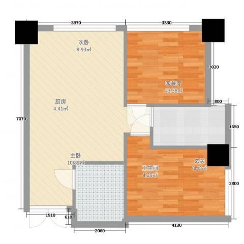 天津大都会SMART公寓2室2厅1卫1厨88.00㎡户型图