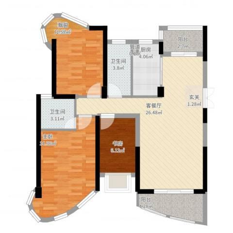 南昌铜锣湾广场3室2厅2卫1厨110.00㎡户型图