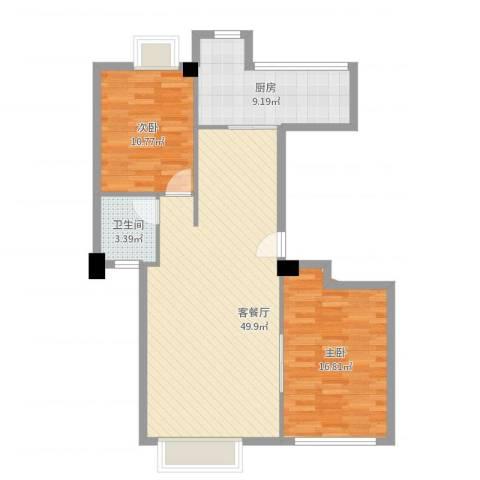 龙泉华庭1室2厅1卫1厨92.00㎡户型图