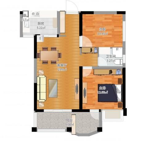 联发君悦湖2室2厅1卫1厨88.00㎡户型图