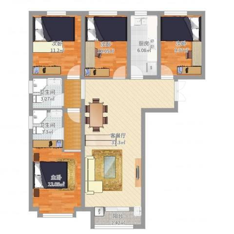 渤海豪庭4室2厅2卫1厨117.00㎡户型图
