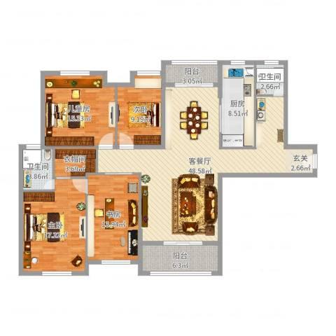 观庭金色世家4室2厅2卫1厨165.00㎡户型图