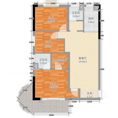 麓山枫情二期3室2厅2卫1厨96.00㎡户型图