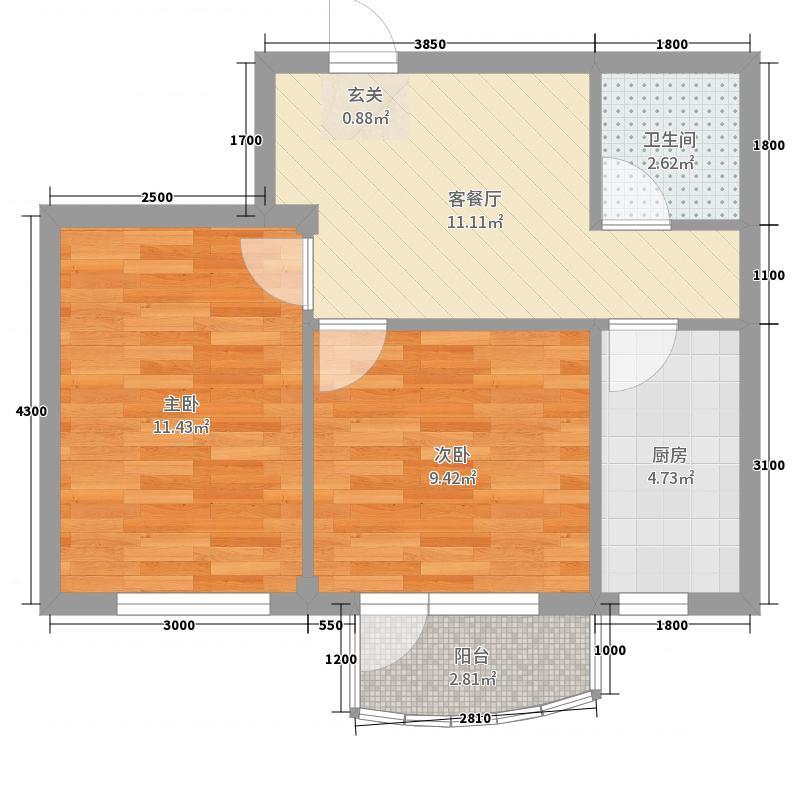 金海明珠60.00㎡26、29号楼C4户型2室2厅1卫1厨