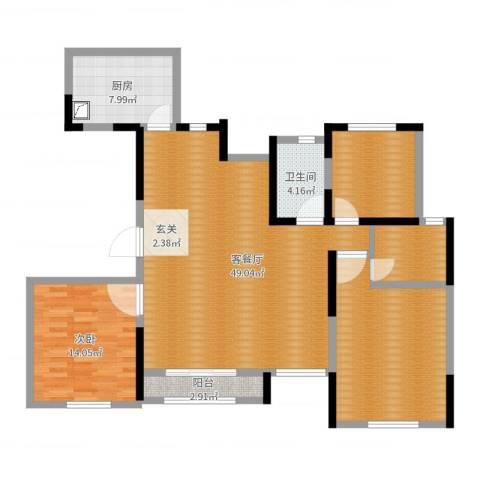 海安奥体新城1室2厅1卫1厨131.00㎡户型图
