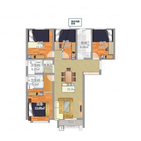 渤海豪庭4室2厅2卫1厨116.00㎡户型图