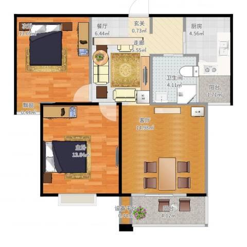 滨湖品阁2室2厅1卫1厨94.00㎡户型图