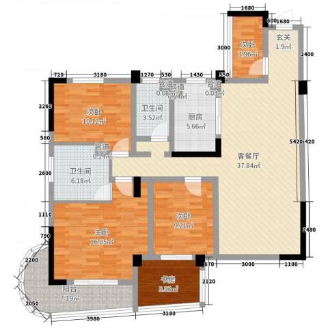 麓山枫情二期5室2厅2卫1厨131.00㎡户型图