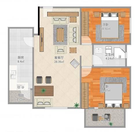 加州水郡西区2室2厅1卫1厨86.00㎡户型图
