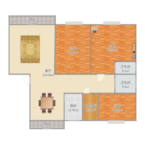 珠江玫瑰花园3室1厅2卫1厨363.00㎡户型图