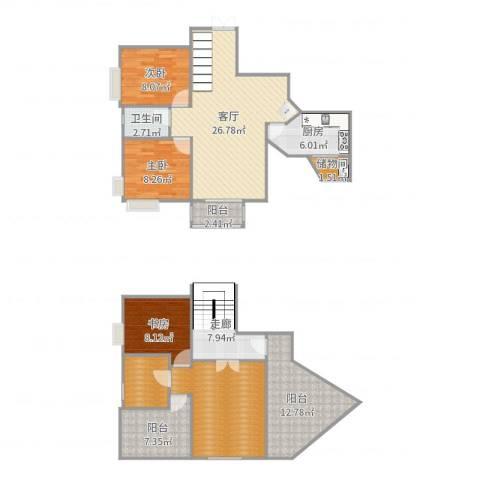 珠江新城3室1厅1卫1厨140.00㎡户型图