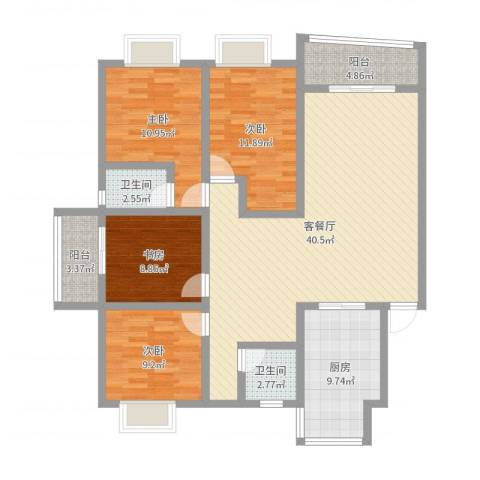 碧波苑4室2厅2卫1厨131.00㎡户型图