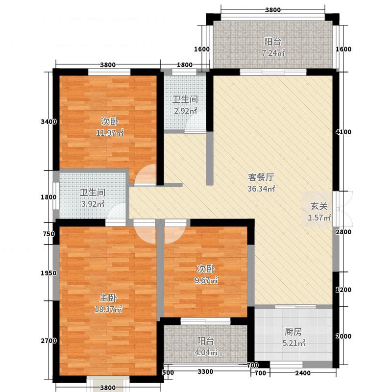 名京・九合院134.42㎡19号楼I户型3室3厅2卫1厨