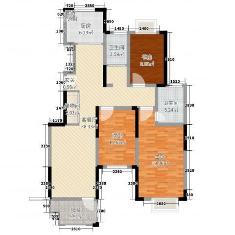 虹亚翰府广场3室2厅2卫1厨128.00㎡户型图