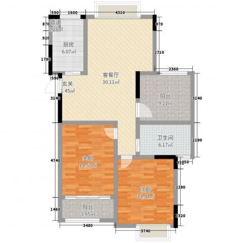湖港名城2室2厅1卫1厨106.00㎡户型图