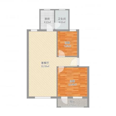 胜丰小区2室2厅1卫1厨81.00㎡户型图
