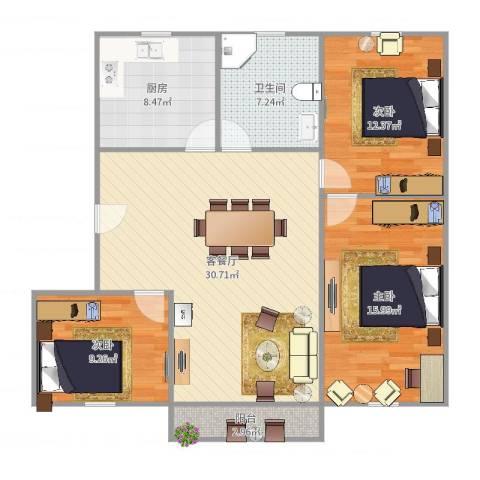 周康二村94平235万3-2-13室2厅1卫1厨109.00㎡户型图