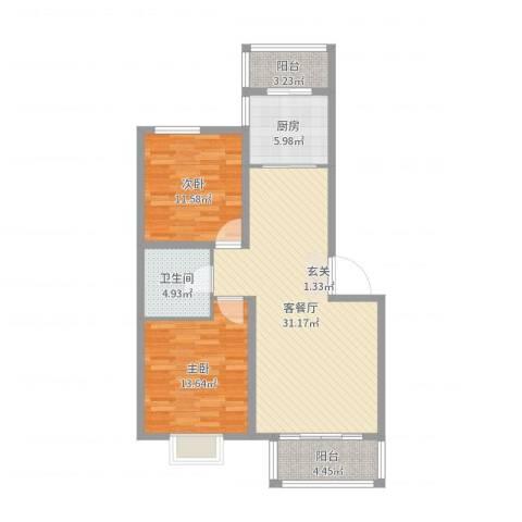 嘉晟阳光城2室2厅1卫1厨94.00㎡户型图