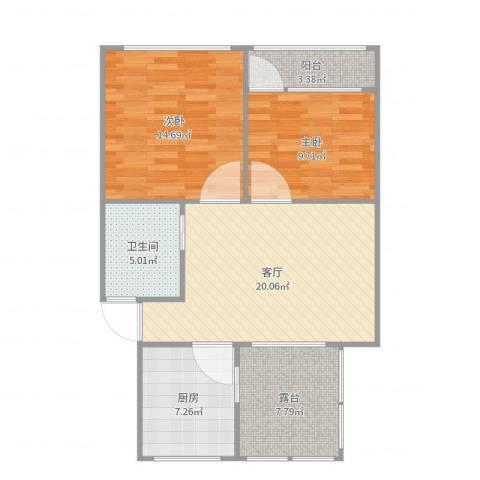 周东二村66#60173平2室1厅1卫1厨85.00㎡户型图