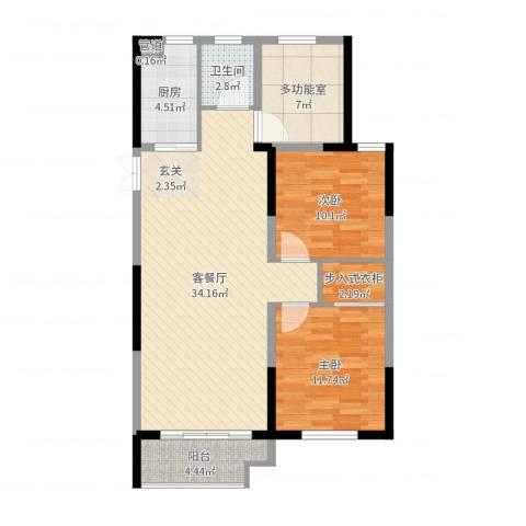 佳源巴黎都市2室2厅1卫1厨96.00㎡户型图
