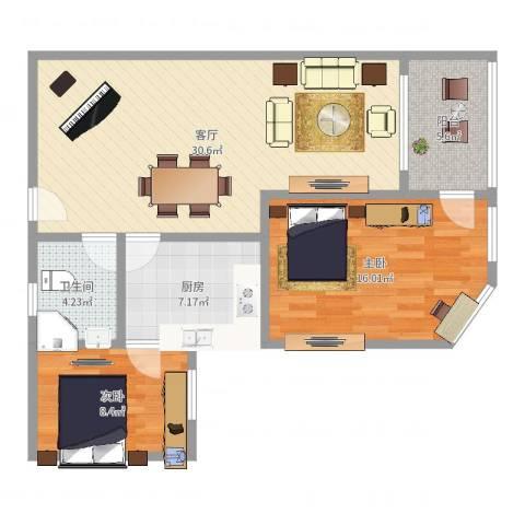 众鑫大厦2室1厅1卫1厨90.00㎡户型图