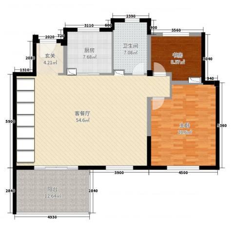 景瑞上府2室2厅1卫1厨138.00㎡户型图