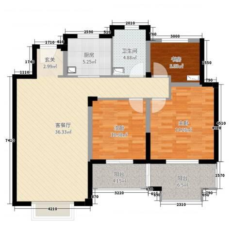 景瑞上府3室2厅1卫1厨107.00㎡户型图