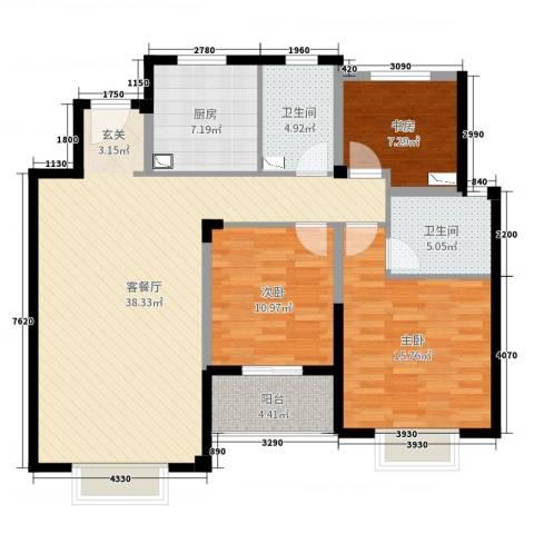 景瑞上府3室2厅2卫1厨117.00㎡户型图