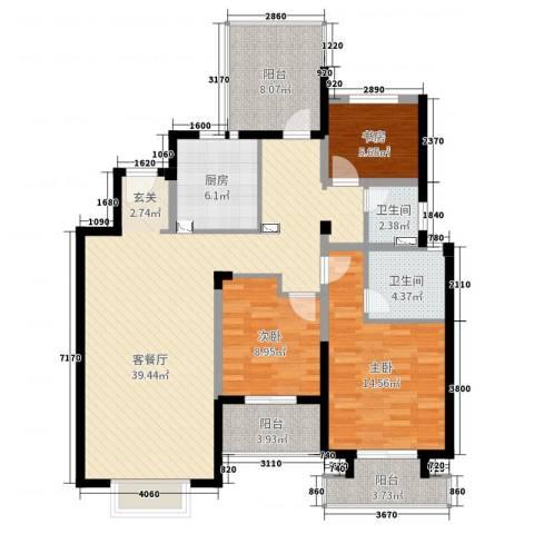 景瑞上府3室2厅2卫1厨122.00㎡户型图