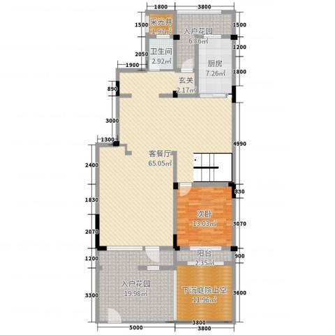 塞纳蓝湾1室2厅1卫1厨220.00㎡户型图