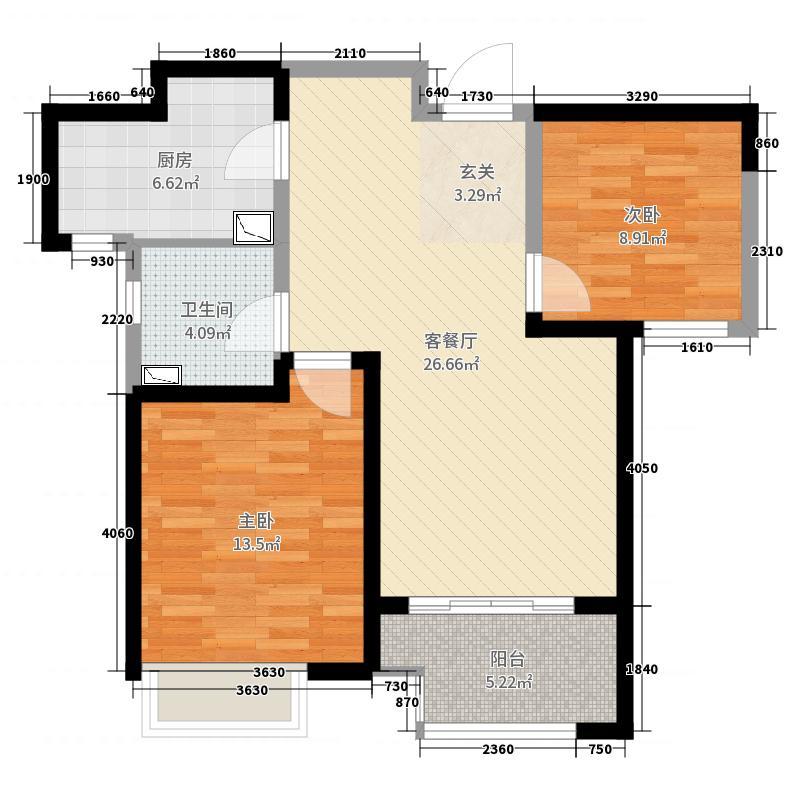 新城尚东区81.00㎡A户型2室2厅1卫1厨