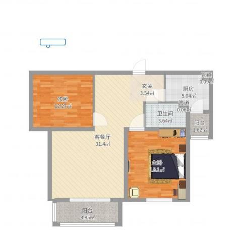 财富湾2室2厅1卫1厨93.00㎡户型图