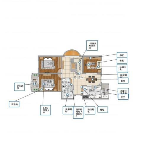 赛德广场3室1厅2卫1厨119.00㎡户型图